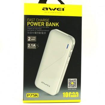 Powerbank with 2 USB ports AWEI P75K 10000mAh