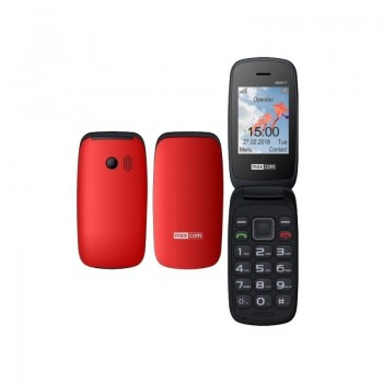 "Maxcom MM817 (Dual Sim) 2.4 ""with Large Keys, Charging Stand, Radio (Handsfree) RED"