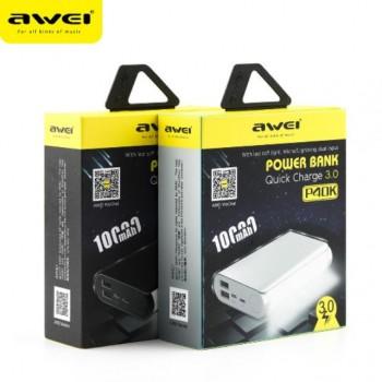 Powerbank εξωτερική μπαταρία με φακό AWEI P40K 10.000mAh - Black