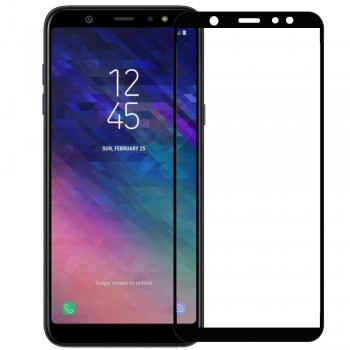 SAMSUNG GALAXY A6 2018 Full Cover Protection Tempered Glass Screen Protector Black
