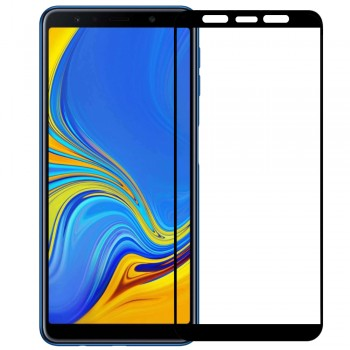 SAMSUNG GALAXY A7 2018 Full Cover Protection Tempered Glass Screen Protector Black