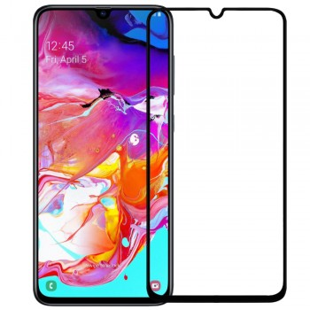 SAMSUNG GALAXY A70 Full Cover Protection Tempered Glass Screen Protector Black