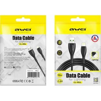 Awei CL-115M micro USB Cable 2.4A Καλώδιο φόρτισης και Μεταφοράς Δεδομένων 1Μ Μαύρο