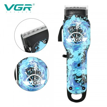 VGR V066 Hair Clipper Professional Personal Care Oil Head Electric Blue Graffiti Shaved Head Trimmer For Men