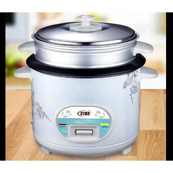 CYBER CYRC-7174 Electric Rice Cooker 1.8L with Steamer - White