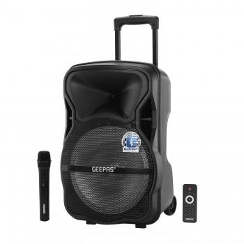 GEEPAS GMS8568 Trolley Bluetooth Speaker - Wireless Microphones,1800mAh Rechargeable Battery Portable Speaker (UK Plug)