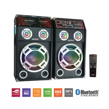 SANFORD SF2256SS Trolley Bluetooth Speaker With Remote Control - Black (UK Plug)