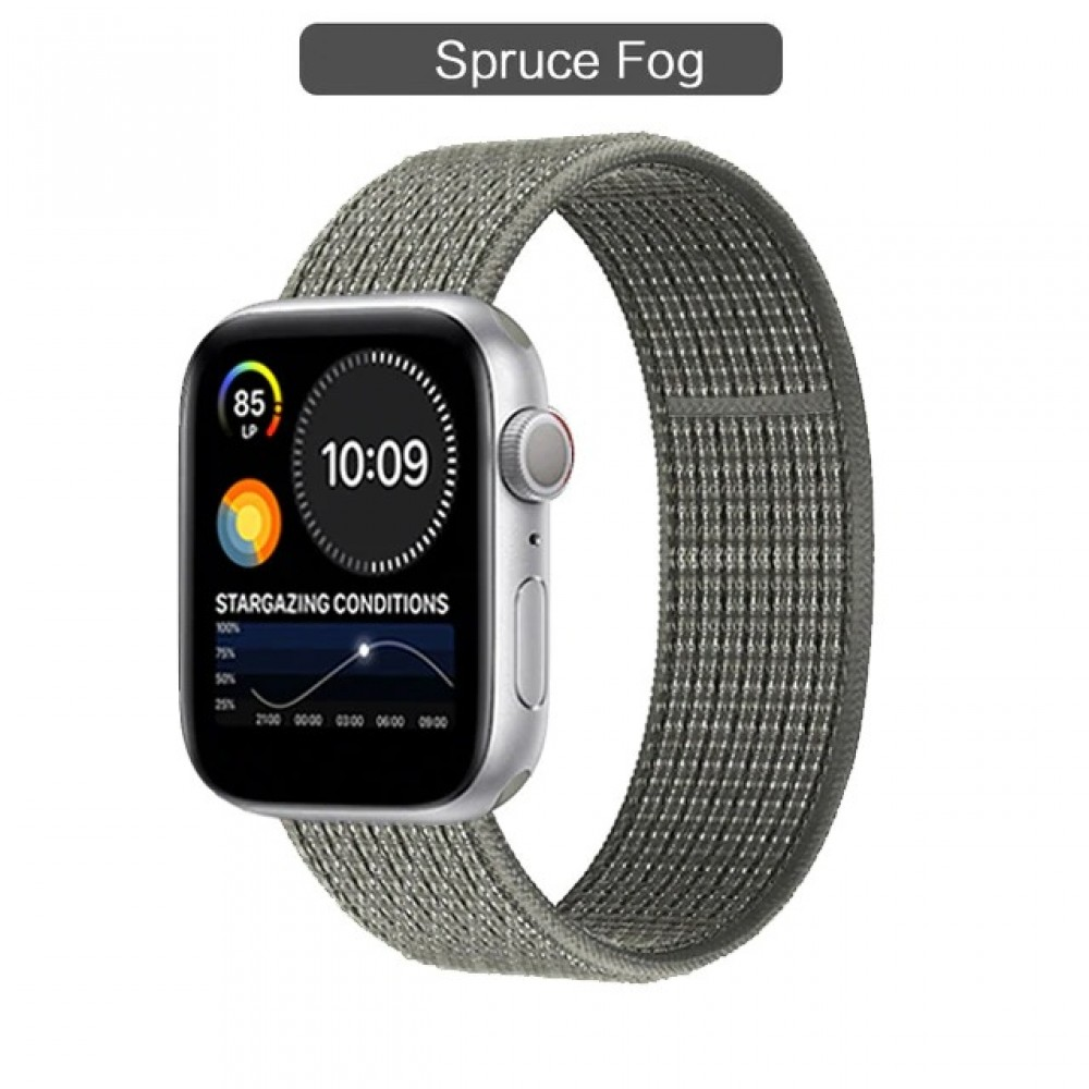 OEM SMART BRACELET NYLON STRAP SOFT LOOP FOR  APPLE WATCHES 42/44MM - SPRUCE FOG