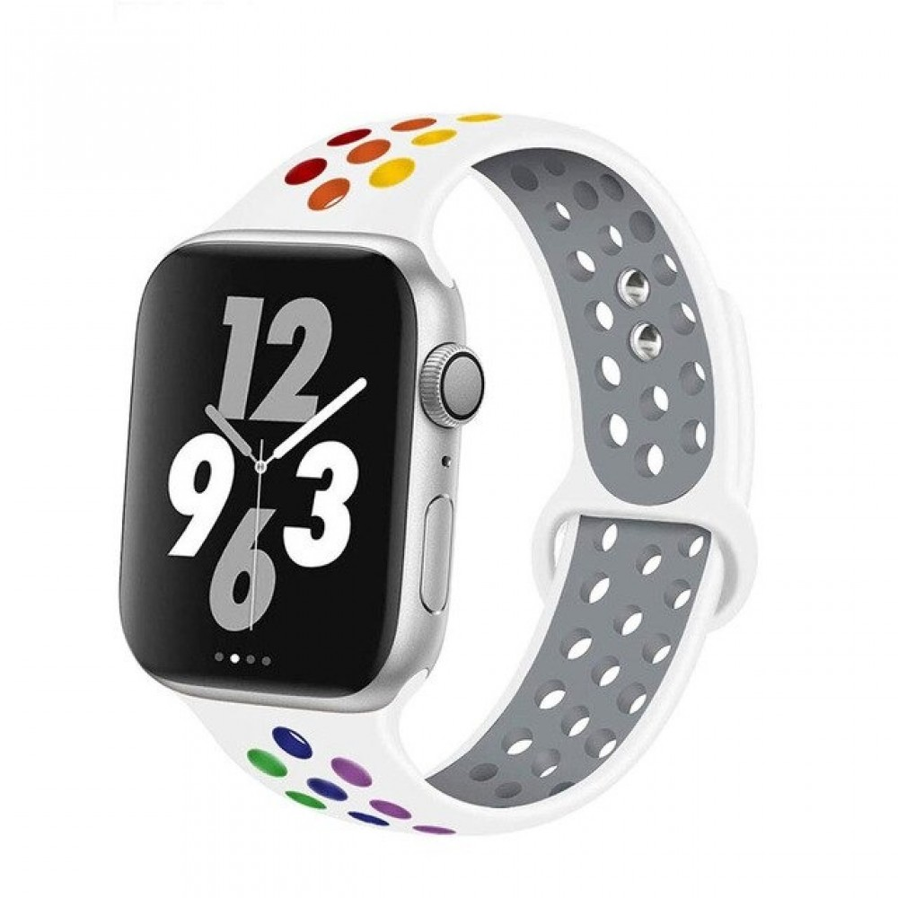 OEM NEW FASHION SILICONE STRAP FOR APPLE WATCHES 42/44MM - RAINBOW WHITE